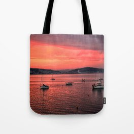Mumbles Harbour after Sunset. Tote Bag