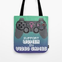 video games Tote Bags featuring Support Women in Video Games by Inappropriately Adorable