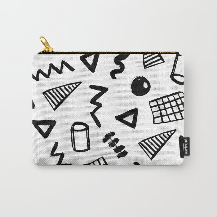 Black and white shapes minimal linocut pattern graphic scandi design Carry-All Pouch