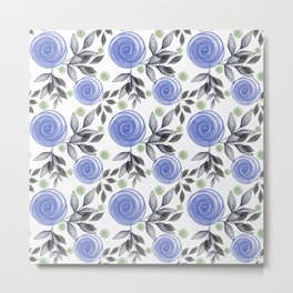 Blue abstract flowers Metal Print