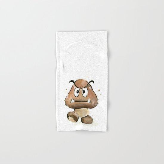 Goomba Watercolor Painting Mario Gamer Videogame Art Hand & Bath Towel