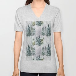 Artistic hand painted green white watercolor trees polka dots Unisex V-Neck