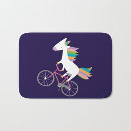 bike unicorn  Bath Mat