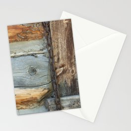 Weathered - Old Barn Wood & Rusted Chain Mormon Row Cabins Closeup Stationery Cards
