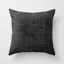 Black Burlap texture  Throw Pillow