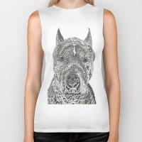 pitbull Biker Tanks featuring  American Pitbull Terrier by DiAnne Ferrer
