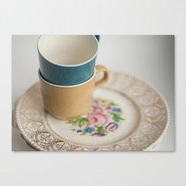 Vintage Tea Cups and Plates Canvas Print