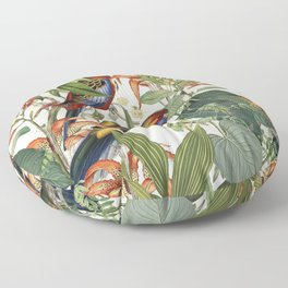 Jungle Birds Tropical Paradise Botanical Vintage Illustration Floor Pillow