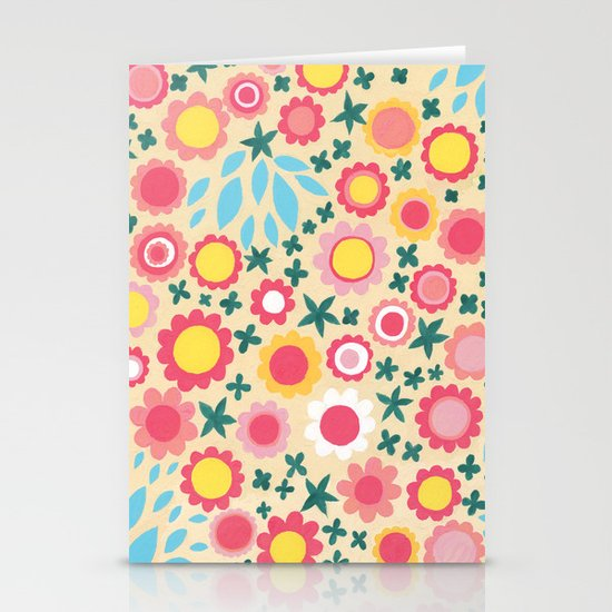 Crowded Colourful Flowers Stationery Cards