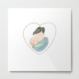 Love dad | new dad | newborn | watercolor art | tender illustration | alis Metal Print