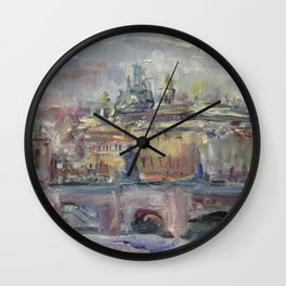 Oil Painting On Canvas City Landscape Artwork Impressionism Cozy Home Decor Bedroom Decoration Wall Clock