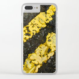 Yellow Lines Clear iPhone Case
