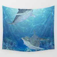 dolphins Wall Tapestries featuring happy dolphins by Ancello