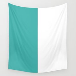 White and Verdigris Vertical Halves Wall Tapestry