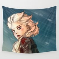 winter soldier Wall Tapestries featuring Elsa as a Winter soldier by Thea Yau