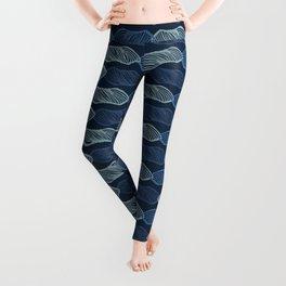 Abstract Straight Lines Pattern Indigo Blue Leggings