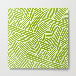 Abstract apple green & white Lines and Triangles Pattern- Mix and Match with Simplicity of Life Metal Print