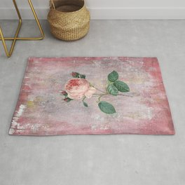 Vintage & Shabby Chic - Rose on pink grunge background  - Roses and flowers garden Rug