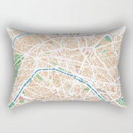 Watercolor map of Paris Rectangular Pillow