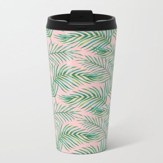 Palm Leaves_Bg Rose Quartz Metal Travel Mug