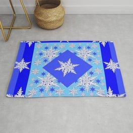 DECORATIVE BABY BLUE SNOW CRYSTALS BLUE WINTER ART Rug