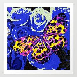 The Butterfly Affect #2 Blue Mosaic Art Print
