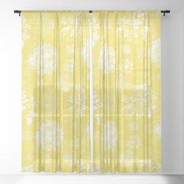 Roses in  White on Illuminating Yellow Design Sheer Curtain