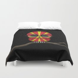 Baby Owl with Glasses and Macedonian Flag Duvet Cover