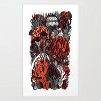 mushrooms Art Prints featuring Mushrooms by pam wishbow