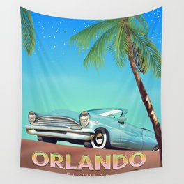 Orlando Florida vintage travel poster, Wall Tapestry