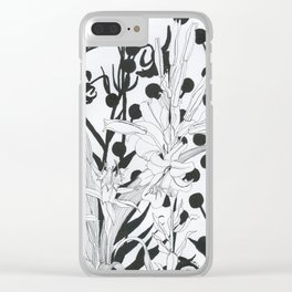 Vintage floral in black and white Clear iPhone Case