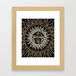 Sun Moon Face Framed Art Print