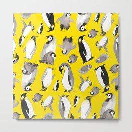 Yellow Penguin Potpourri Metal Print