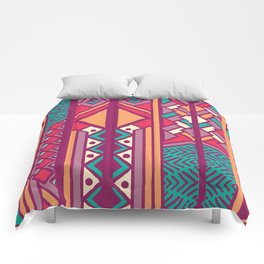 Tribal ethnic geometric pattern 001 Comforters