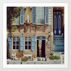 Blue Shutters in the Sun Art Print