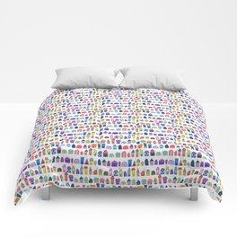Colorful Neighbors Illustration (White) Comforters