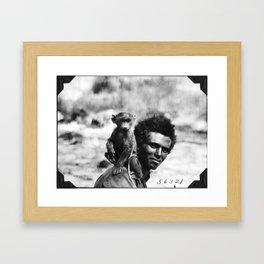 Vintage Man With Monkey Framed Art Print