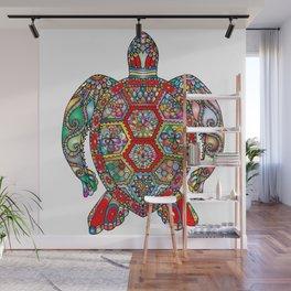 Colorful Sea Turtle Abstract Mandala Wall Mural