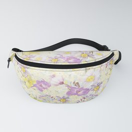 Vintage pattern- Spring in purple and yellow- daffodils and anemones Fanny Pack