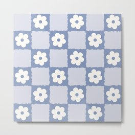 Retro Daisy Flower Checker in Blue  Metal Print