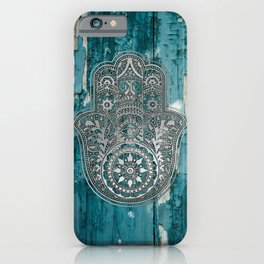 Silver Hamsa Hand On Turquoise Wood iPhone Case