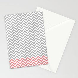 Grey, Coral and White Chevron Stationery Cards