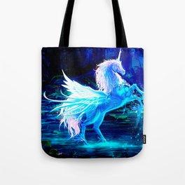Unicorn Forest Stars Cristal Blue Tote Bag