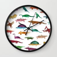 dinosaurs Wall Clocks featuring dinosaurs by victoriazorus