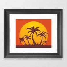 Palm Trees And Summer Sunset Framed Art Print