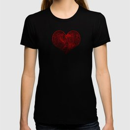 Red Cybernetic Circuit Board Crackle Grunge Texture T-shirt