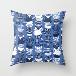Swedish folk cats I // Indigo blue background Throw Pillow