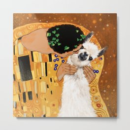 Llama THE KISS Metal Print