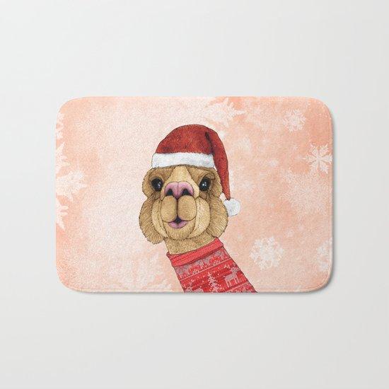 Alpaca Christmas Bath Mat