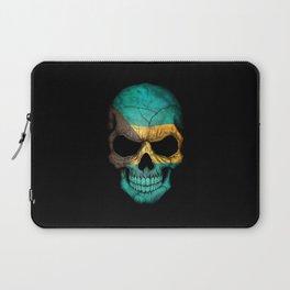 Dark Skull with Flag of Bahamas Laptop Sleeve